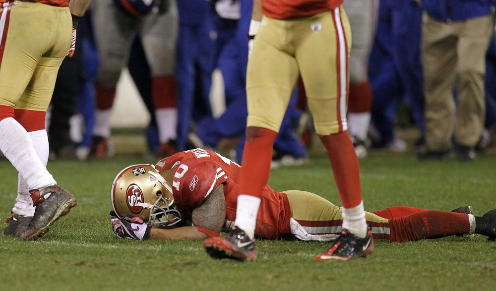 Kyle Williams couldn't bear to watch after fumbling away a punt at a pivotal moment in overtime of the NFC Championship Game on Sunday. (AP)