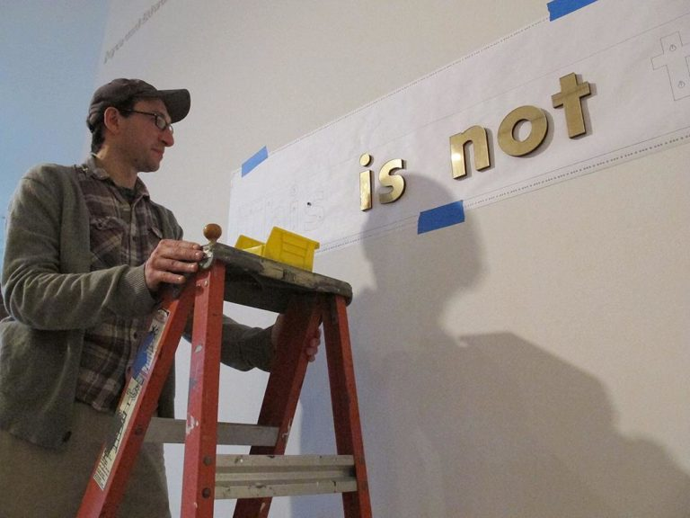 Joe Zane's work often comments on the anxiety of being an artist. (Andrea Shea/WBUR)