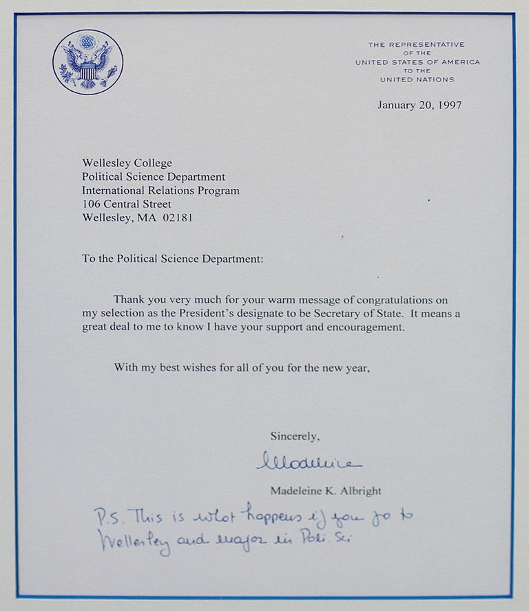 """""""This is what happens if you go to Wellesley and major in Poli Sci,"""" Albright wrote after becoming secretary of state. Click to enlarge. (Courtesy: Wellesley College)"""