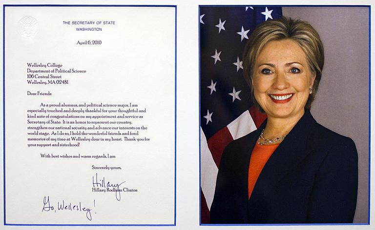 After becoming secretary of state, Hillary Clinton wrote to friends at Wellesley College to thank them. Click to enlarge. (Courtesy: Wellesley College)