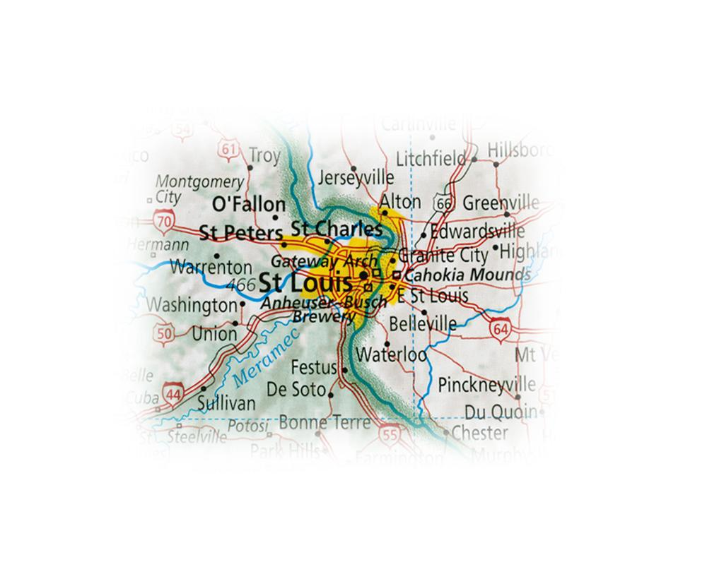 A map of St. Louis. (Courtesy of Dave Imus, Imus Geographics)