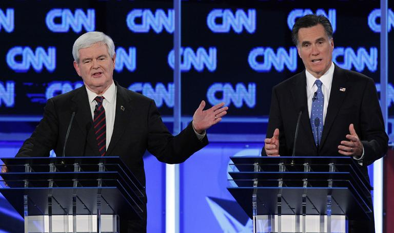 Republican presidential candidates, Newt Gingrich and Mitt Romney participate in the Republican presidential candidates debate in Jacksonville, Fla. (AP)