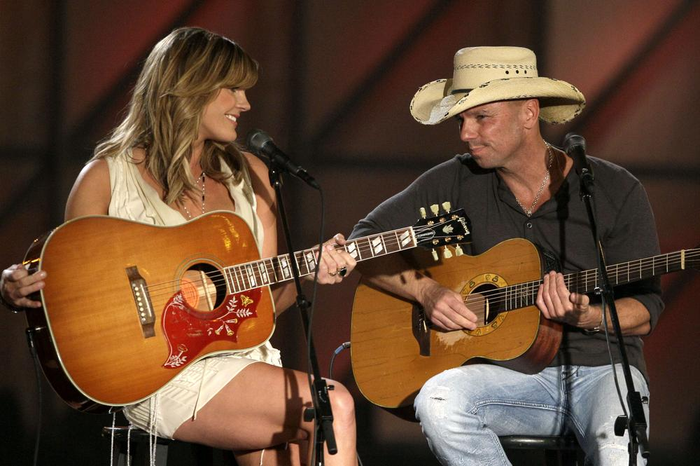 "Grace Potter, left, and Kenny Chesney perform ""You and Tequilla"" in Nashville, Tenn. (AP)"