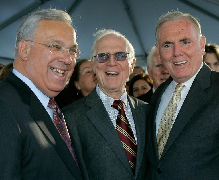 Former Boston Mayor Kevin White, center, with current Mayor Thomas Menino, left, and former Mayor Raymond Flynn at the unveiling of White's statue (AP)