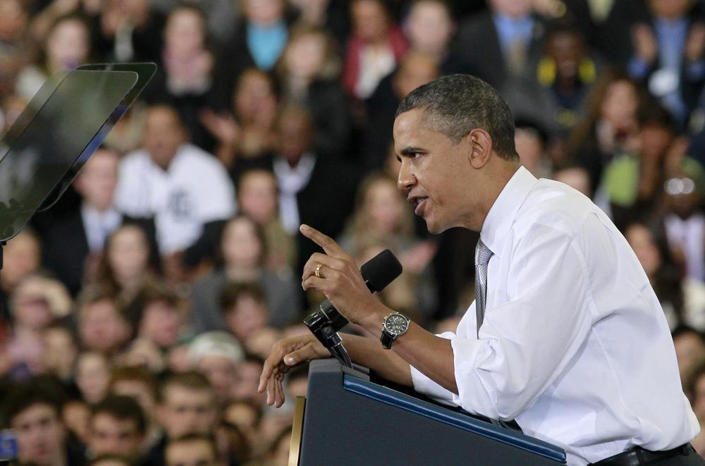 President Barack Obama speaks at the University of Michigan's Al Glick Field House, Friday. (AP)