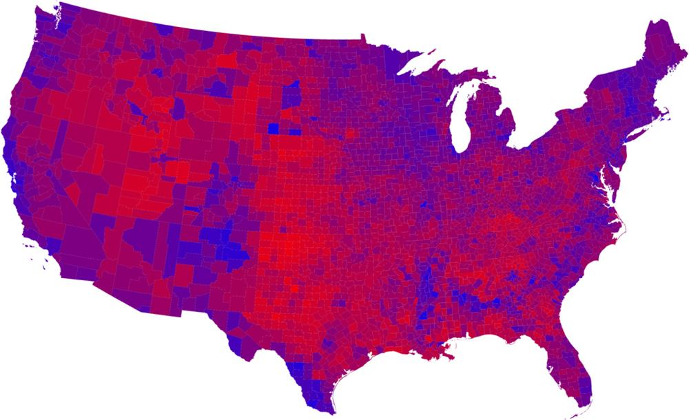 2008 popular vote by county. Brighter red represents a higher percentage of the vote for McCain, while darker blue represents a higher percentage of the vote for Obama. (Mark Newman, University of Michgan)