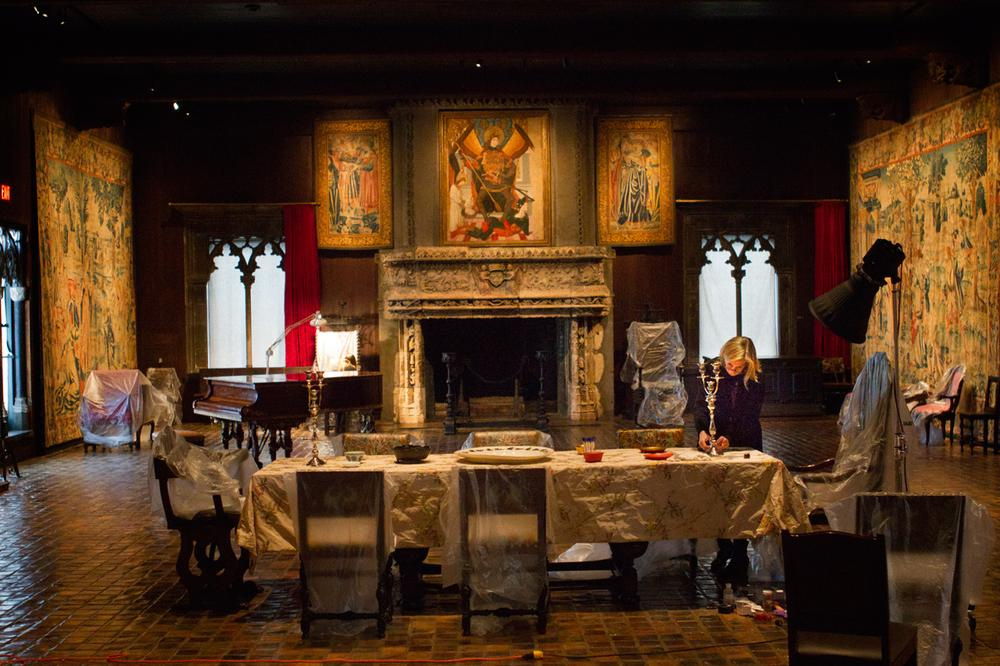 Final preparations are made in the Isabella Stewart Gardner's Tapestry Room. (Jesse Costa/WBUR)