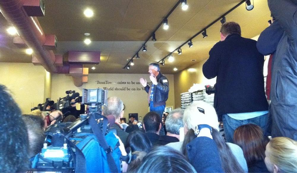 Jon Huntsman at a Hampstead coffeeshop Sunday (Monica Brady-Myerov/WBUR)