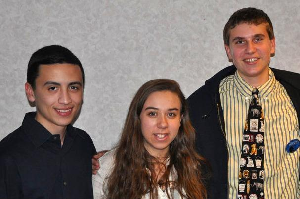 From left: Danny Santos, Sarah Meister, and Michael Cummerford. The seniors at Mamaroneck High School in Westchester County, New York, are in New Hampshire with their AP Government class. (Dan Mauzy/WBUR)