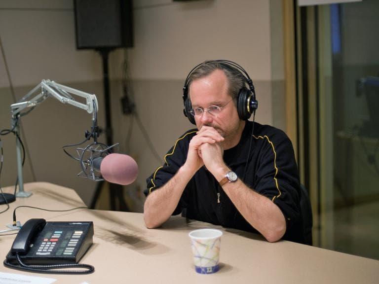 Harvard's Lawrence Lessig in the WBUR studios. (Alex Kingsbury/WBUR)