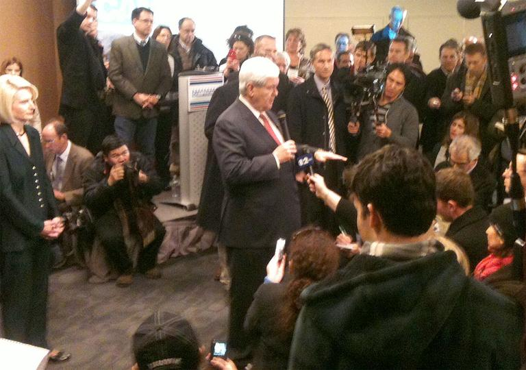 Newt Gingrich takes questions from the media following his Manchester event Monday. (Ben Swasey/WBUR)