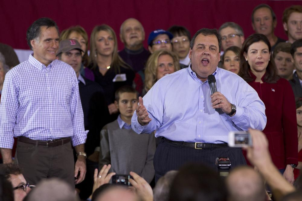 Mitt Romney and N.J. Gov. Chris Christie at a campaign rally in Exeter, N.H., on Sunday (Luke Boelitz for WBUR)