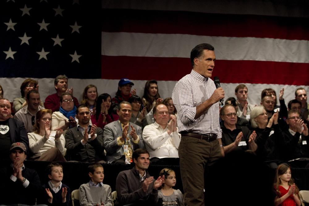 Mitt Romney at an event Sunday in Rochester, N.H. (Luke Boelitz for WBUR)