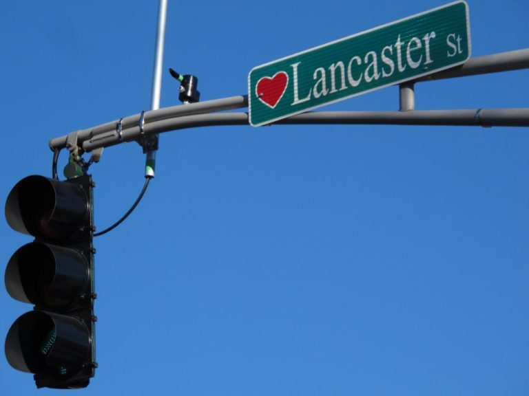 """Numerous Worcester streets signs pay homage to Esther Howland's legacy as the """"Mother of the Valentine."""" (Andrea Shea/WBUR)"""