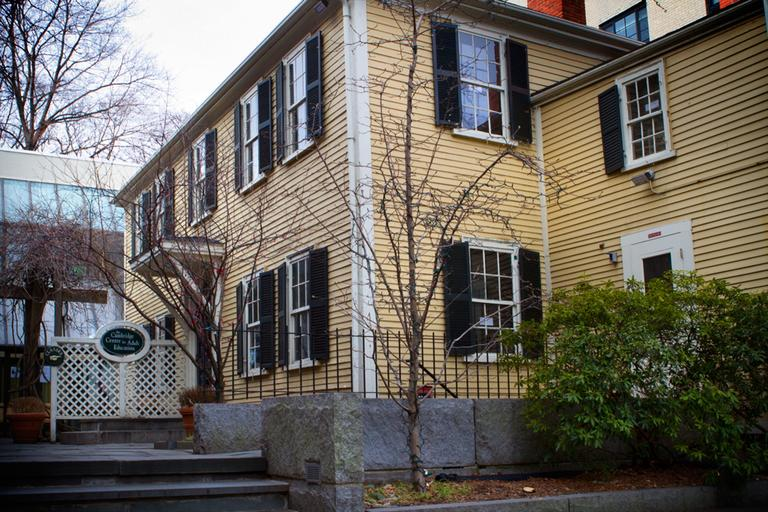 Exterior shot of Walker's house, now home to the Cambridge Center for Adult Education. (Jesse Costa/WBUR)