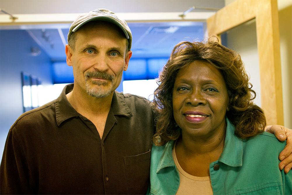 Tony Lynn Washington and her guitarist Mike Williams. (Jesse Costa/WBUR)