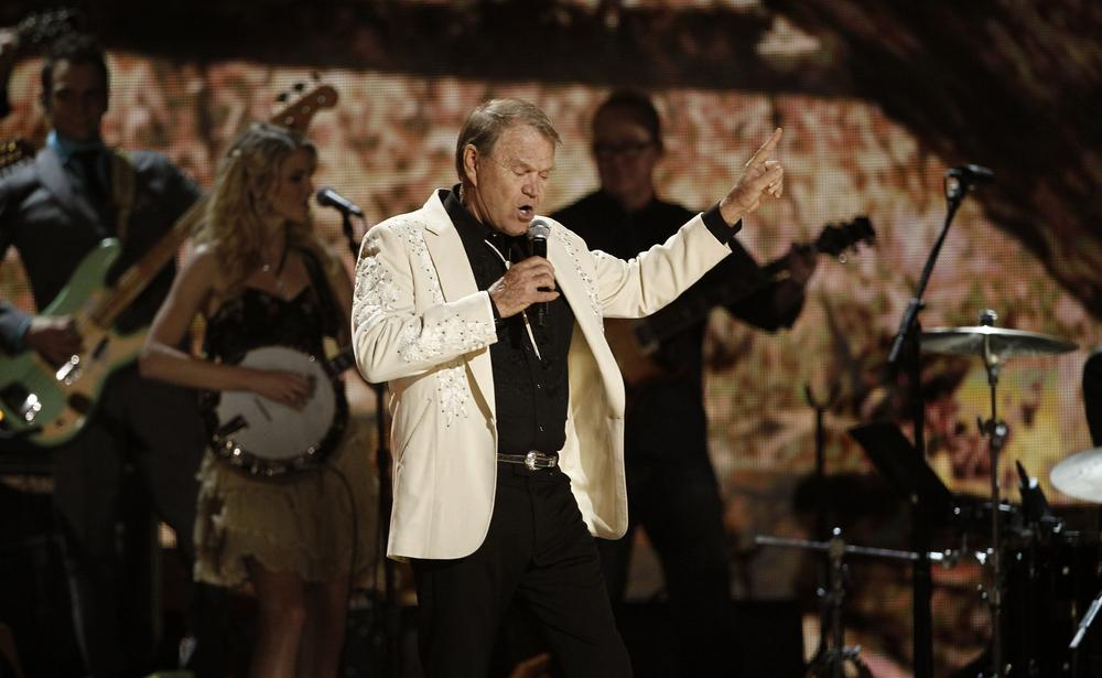 Glen Campbell performs during the 54th annual Grammy Awards in Los Angeles in February. (AP)
