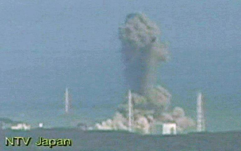 In this image made from Japan's NTV/NNN Japan television, smoke ascends from the Fukushima Dai-ichi nuclear plant's Unit 3 in Okumamachi, northern Japan, Monday, March 14, 2011. The second hydrogen explosion in three days rocked Japan's stricken nuclear plant Monday, sending a massive column of smoke into the air and wounding 11 workers. (AP)