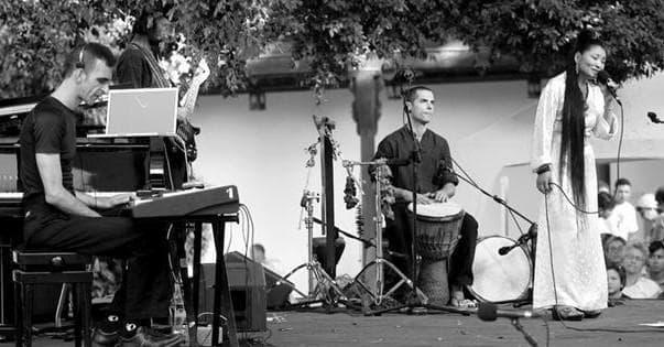 Composer Jamshied Sharifi (left) with Yungchen Lhamo and Simone Haggiag in Fes, Morocco. (Courtesy Jamshied Sharifi)