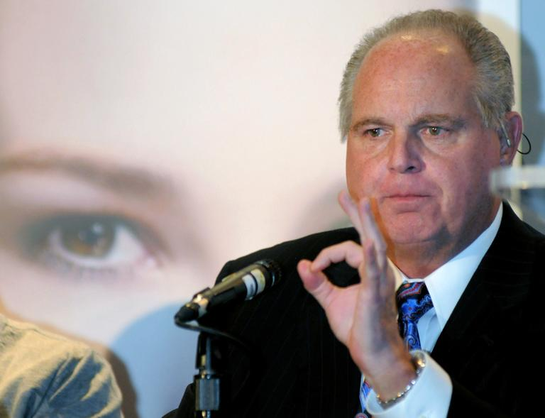 """Radio talk-show host Rush Limbaugh, one of six judges for the pageant, speaks during a Miss America news conference in Las Vegas Jan. 27, 2010 . Limbaugh drew fire Friday, March 2, 2012 from many directions for his depiction of a college student as a """"slut"""" because she testified before Congress about the need for contraceptive coverage. (AP)"""