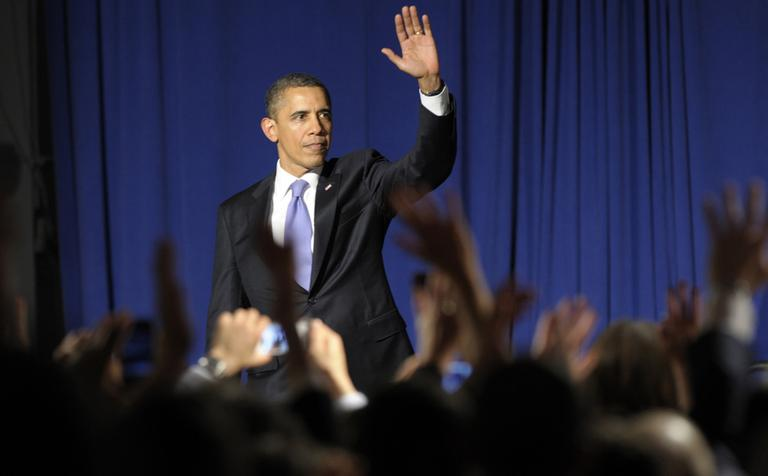 President Barack Obama waves to the crowd after speaking at a fundraiser at in New York in March. (AP)