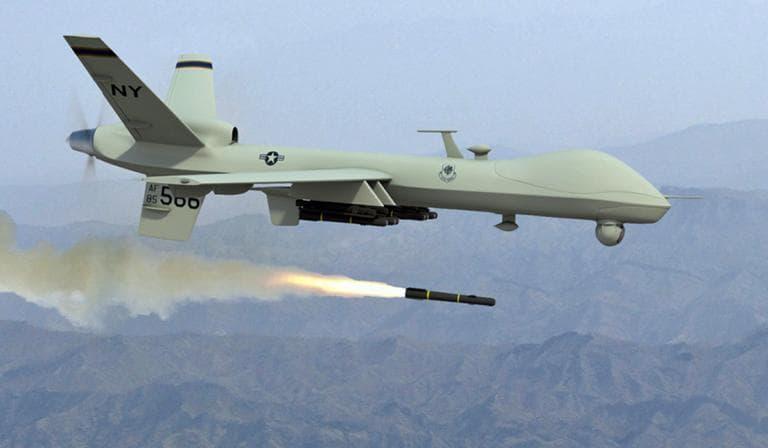 A drone firing a Hellfire missile. (U.S. Air Force)