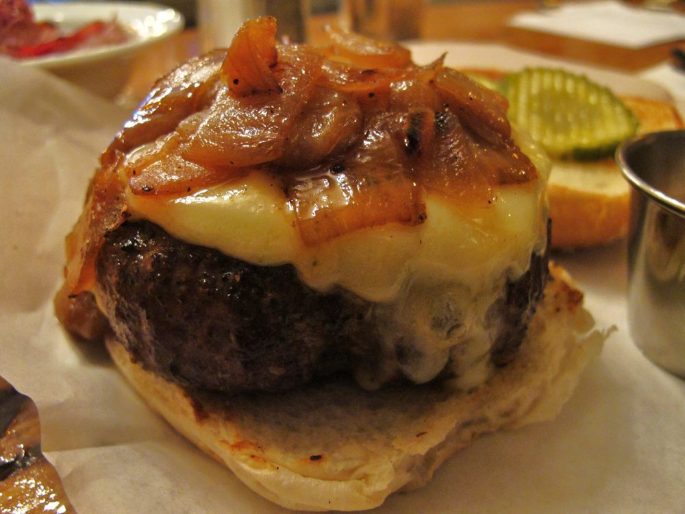 The burger at JM Curley in Downtown Crossing is one of the top-rated burgers on Chudy's blog, with a score of 93 which puts it in the 'best of the best' category. (Courtesy of Richard Chudy)