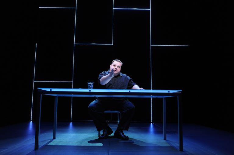 """Mike Daisey is shown in a scene from """"The Agony and The Ecstasy of Steve Jobs."""" (AP Photo/Stan Barouh)"""