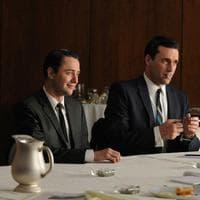 "From left, Vincent Kartheiser portrays Pete Campbell, Jon Hamm portrays Don Draper and John Slattery portrays Roger Sterling in a scene from ""Mad Men."" (AP/AMC)"