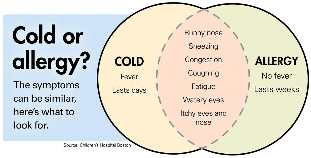 Cold or allergy? The symptoms can be similar, but colds include fever and last only for days. Allergies don't include fever and last for weeks.