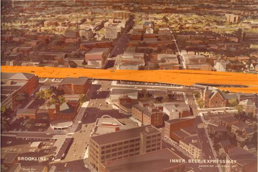 Rendering of the Inner Belt going down Brookline Street by Goodkind and O'Dea, Inc. (Courtesy of the Cambridge Historical Society)