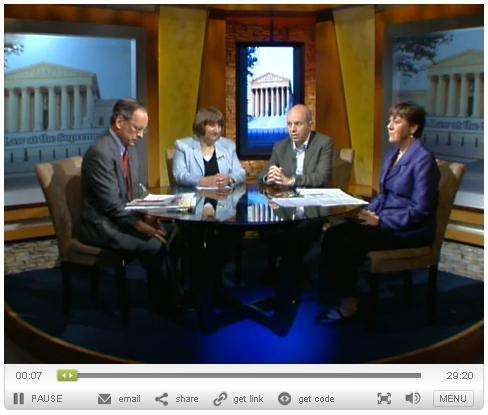 """Screenshot of the Kaiser Health News' webcast """"Health Reform And The Court."""" Click the above image to link to the full webcast replay."""