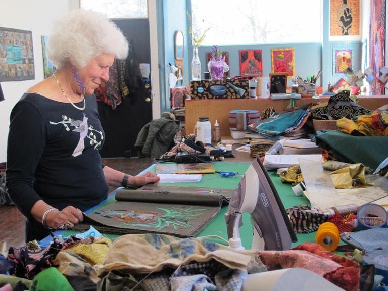 Clara Wainwright in her Allston studio. (Andrea Shea/WBUR)