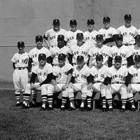The Boston Red Sox players, managers and trainers pose at Fenway Park in Boston, Sept. 13, 1967. (AP)