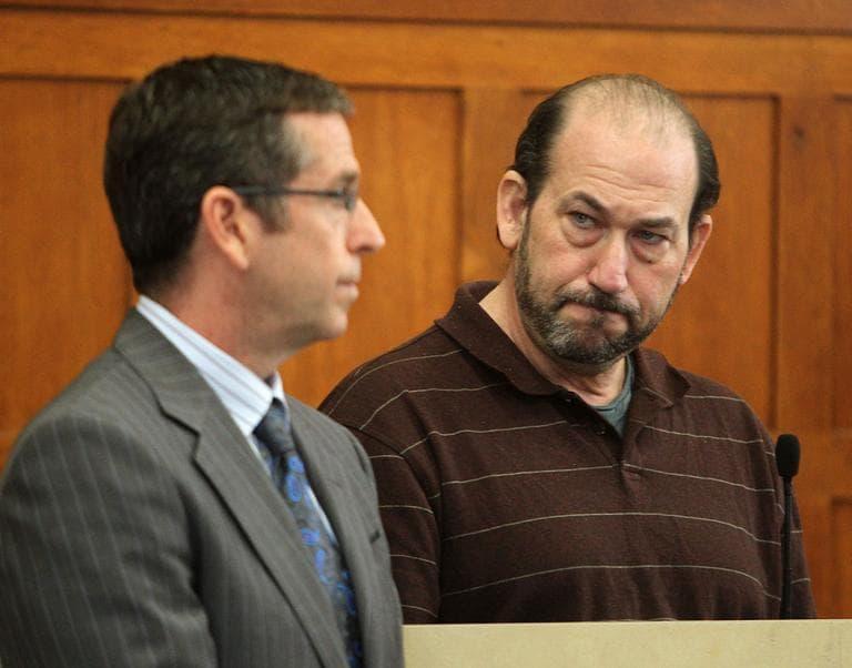 Film director Daniel Adams, right,  pleads guilty in Suffolk Superior Court, Thursday. (Boston Herald/Angela Rowlings)