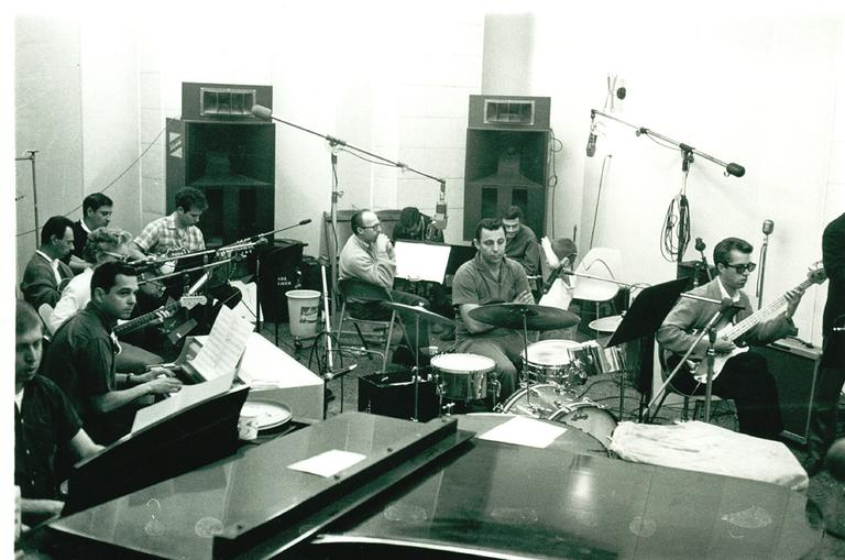 The Wrecking Crew, on the day they played a session date for Phil Spector. (Courtesy Hal Blaine)