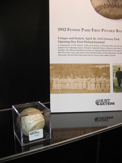 The first baseball pitched at Fenway from opening day 1912. (Lynn Jolicoeur for WBUR)