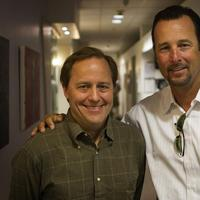 Radio Boston host Anthony Brooks, left, with former Red Sox pitcher Tim Wakefield at WBUR, Friday. (Jesse Costa/WBUR)