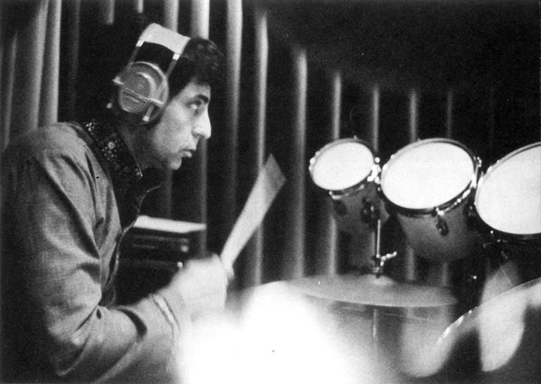 """Drummer Hal Blaine around 1969 in Hollywood. Author Kent Hartman writes """"Hal (is) playing his custom-designed, first-of-its-kind Octoplus drum kit that had a full octave's worth of rack toms---a revolutionary concept for its time."""" (Courtesy Hal Blaine)"""