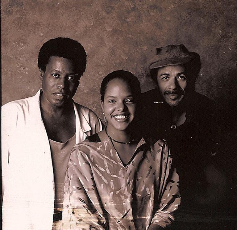 Terri Lyne Carrington, center, with jazz musicians Wayne Shorter and Carlos Santana (Courtesy Terri Lyne Carrington)