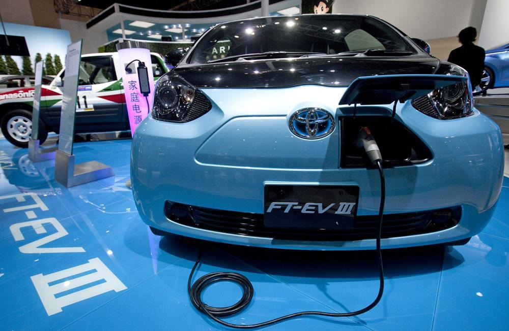 A Toyota FT-EV III is displayed at the Beijing International Automotive Exhibition in Beijing, China on Tuesday. (AP)