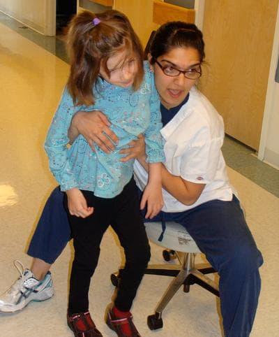 Riley learning how to walk again in 2008 at Spaulding Rehabilitation Center in Boston (Courtesy of Kristen Davis)