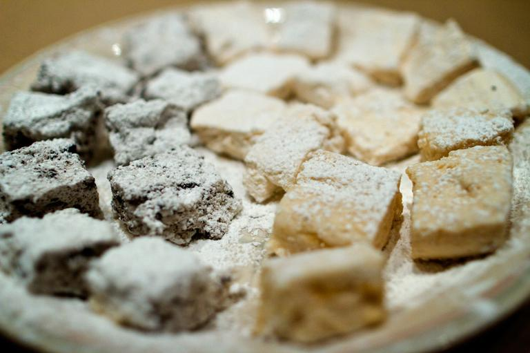Homemade Oreo (left) and fluffernutter marshmallows (right.) (Jesse Costa/Here & Now)