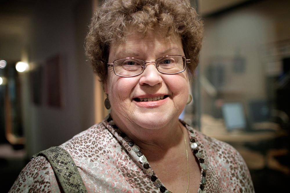 Author Charlaine Harris at Here & Now studios in Boston. (Jesse Costa/Here & Now)