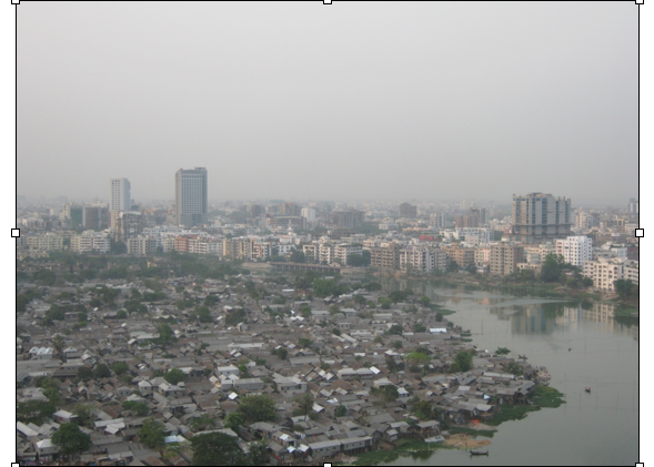 Korail slum sits alongside Gulshan Lake.  Its 30,000 residents are threatened by eviction (April 5).  Photo by Ishtiaque Hussain