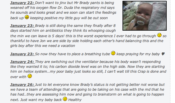 Kathy Riffenburg's Facebook page with updates on Brady. (Courtesy of Kathy Riffenburg)