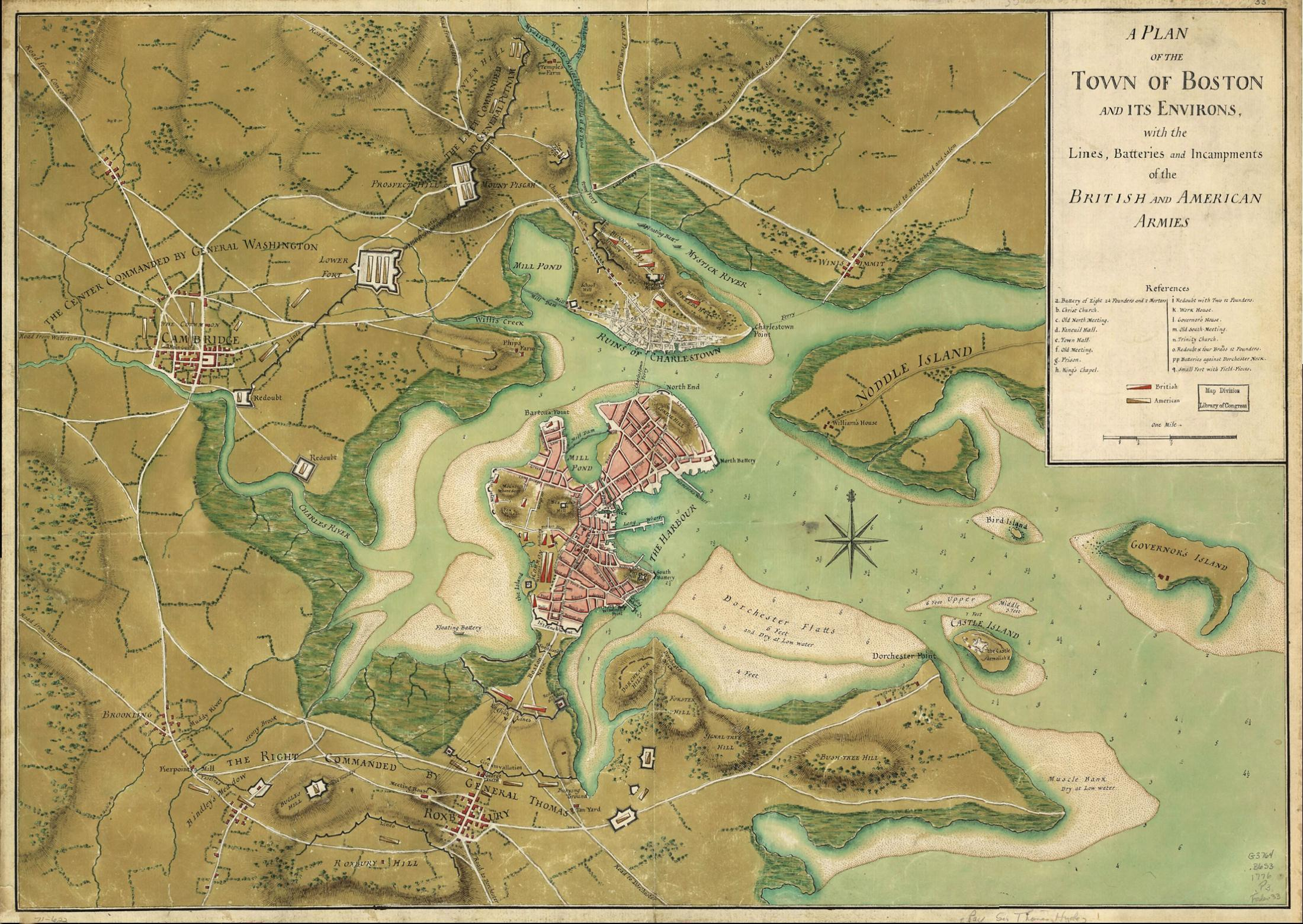 A 1776 map of greater Boston which Anderson used for reference while writing the two 'Octavian Nothing' books. (Courtesy Boston Historical Society)