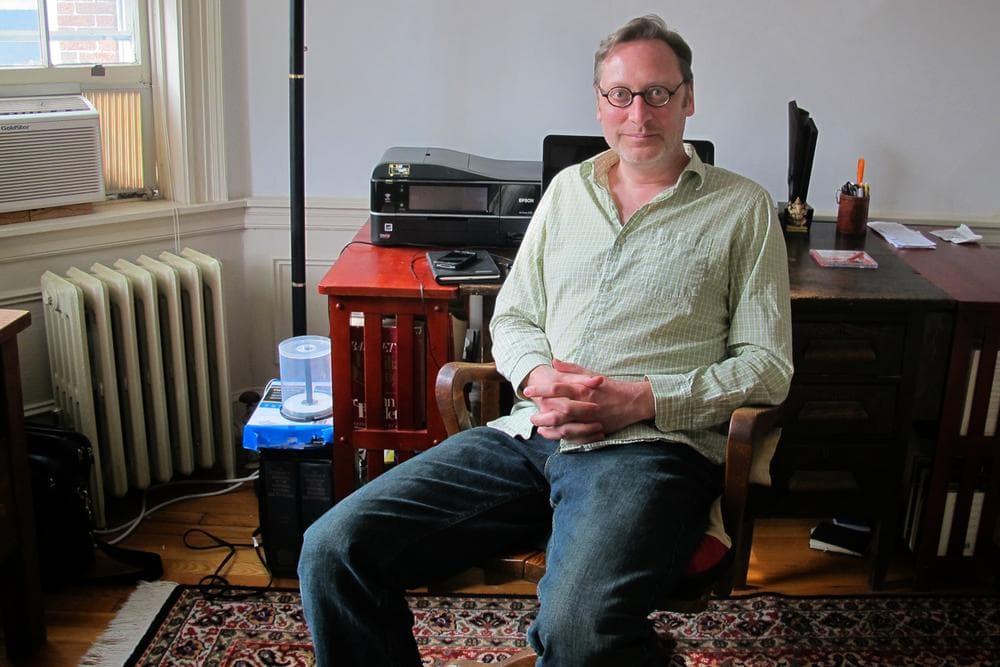 Cambridge author M.T. Anderson at his writing desk (Adam Ragusea/WBUR)
