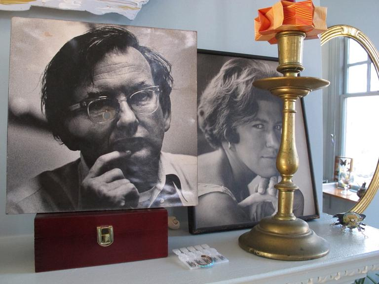 Old photographs of Bill and Clara in their bedroom. The Wainwrights have been married for over 40 years. (Andrea Shea/WBUR)