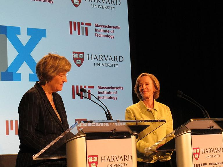 Harvard President Drew Gilpin Faust, left, and MIT President Susan Hockfield announcing the creation of edX, Wednesday.  (Courtesy Katie Broida)